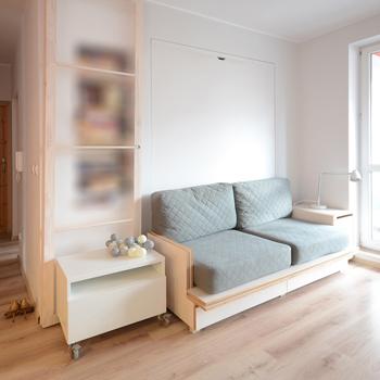 Ukryte łóżko - projekt przestrzeni wypoczynkowej (dziennej) oraz chowanego łóżka.